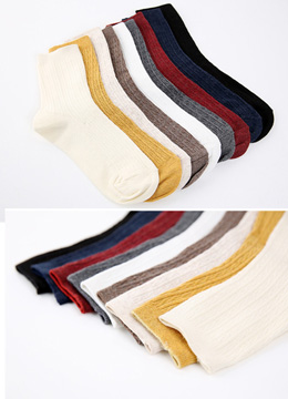 Ribbed Color Socks, Styleonme