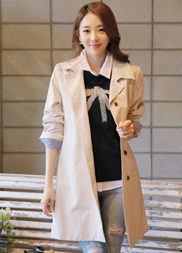 Loose Fit A-Line Trench Jacket, Styleonme