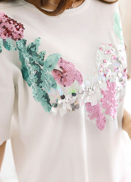 Flower Sequin Embroidery Knit Top, Styleonme
