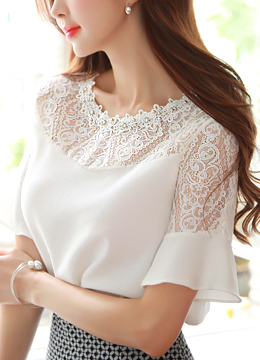 Jeweled Neck Line Lace Detail Blouse, Styleonme