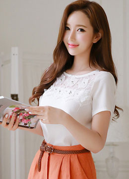 See-through Flower Motif Lace Blouse, Styleonme
