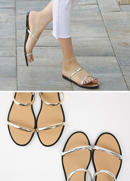 Double Metal Band Sandals, Styleonme