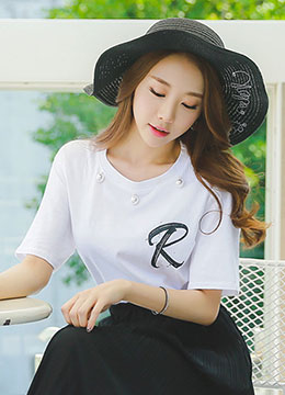 Letter R Pearl Detail Short Sleeve Tee, Styleonme