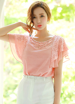 Butterfly Sleeve Lace Tee, Styleonme
