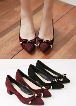 Ribbon Suede Mid-Heel Pumps, Styleonme