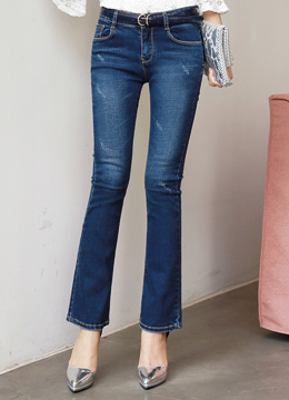 Distressed Boot-cut Jeans, Styleonme