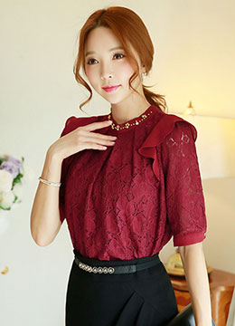Ruffle Shoulder Detail Half Sleeve Lace Blouse, Styleonme