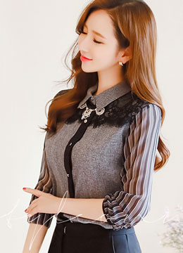 Chiffon Pinstripe Sleeve Lace Front Collared Blouse, Styleonme
