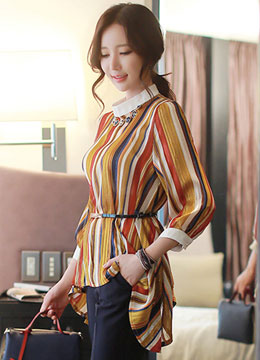 Multicolor Pinstripe High Low Blouse, Styleonme