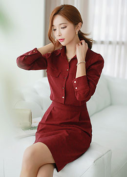 Button-down Collared Shirt Dress, Styleonme