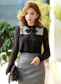 Lace Front Ribbon Neck Tie Chiffon Sleeve Blouse, Styleonme