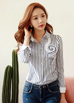 Pinstripe Swirl Front Design Collared Shirt, Styleonme