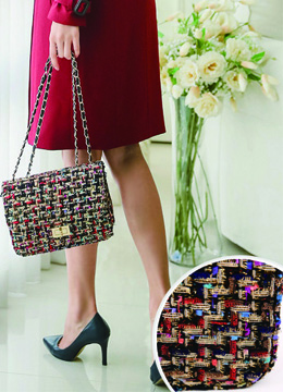 Multi-colour Tweed Chained Handbag, Styleonme