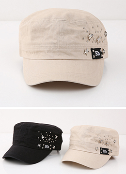 Initial BB Metal Star Studded Cap, Styleonme
