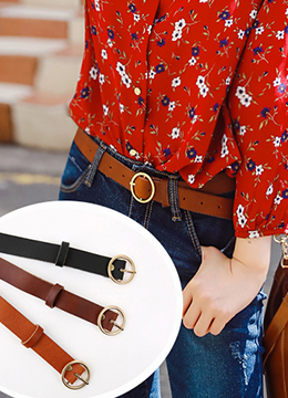 Circle Buckle Leather Belt, Styleonme