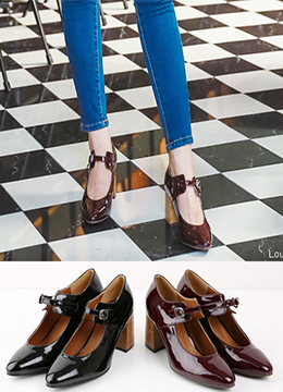 Enamel Thin Front Strap Square Heels, Styleonme