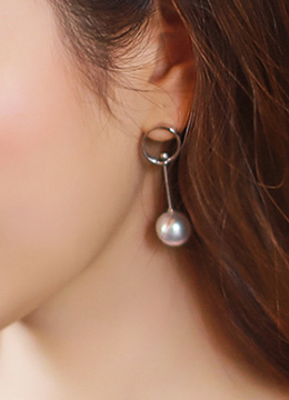 Circle and Pearl Drop Earrings, Styleonme