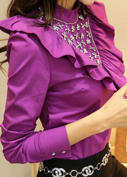 Frill Jeweled V-Line Long Sleeve Blouse , Styleonme