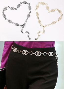 Cubic Linked Rings Chained Belt, Styleonme