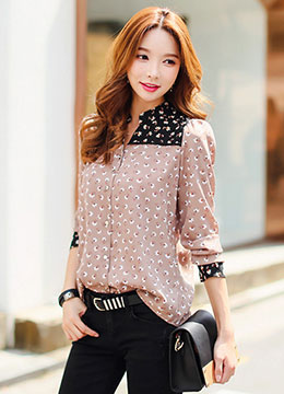 Two-Tone Floral Patterned Mandarin Collar V-Neck Blouse, Styleonme