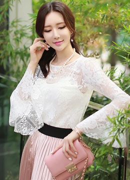 Floral Lace Flared Sleeve Blouse with Tank Top, Styleonme
