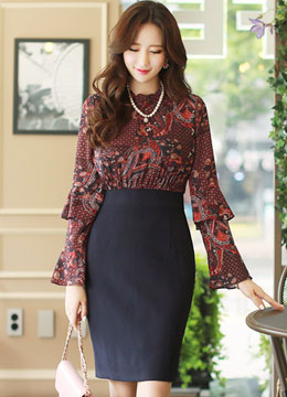 Paisley Print Frill Neck Double Flared Sleeve Dress, Styleonme