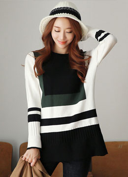 Three Color Round Neck Knit Top, Styleonme