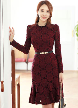 Floral Lace Long Sleeve Flounce Dress, Styleonme