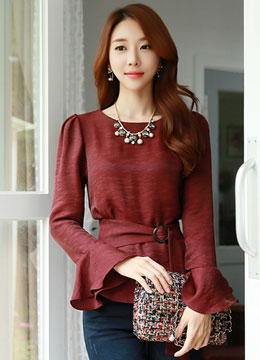 Flared Sleeve Belted Blouse, Styleonme