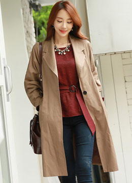Single Button Notched Lapel Collar Wide Sleeve Trench Coat, Styleonme