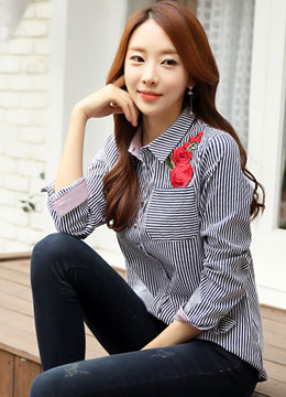 Red Rose Embroidery Pinstripe Collared Shirt , Styleonme