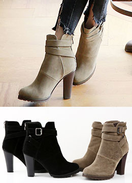 Suede Cross Strap High Heel Ankle Boots, Styleonme