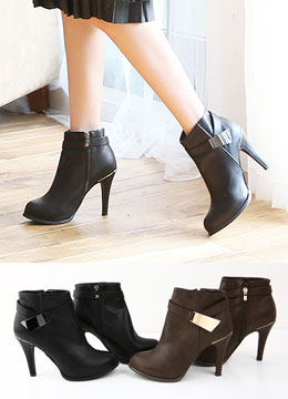 Metal Buckle High Heel Ankle Boots, Styleonme