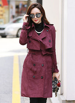 Suede Double-Breasted Trench Coat, Styleonme