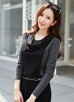 Jeweled Cowl Neck Long Sleeve Tee , Styleonme