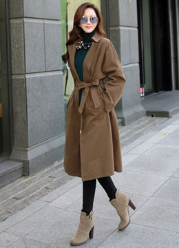 Classic Wide Sleeve Zipper Trench Coat, Styleonme