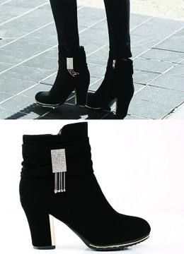Chain Detail High Heel Ankle Boots, Styleonme