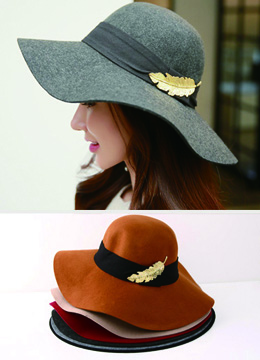 Gold Feather Wool Fedora Hat, Styleonme