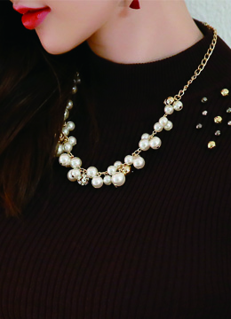 Pearl and Cubic Statement Necklace, Styleonme
