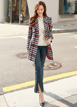 Houndstooth Patterned Double-Breasted Jacket, Styleonme