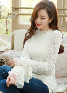 Floral Lace Bell Sleeve Blouse, Styleonme