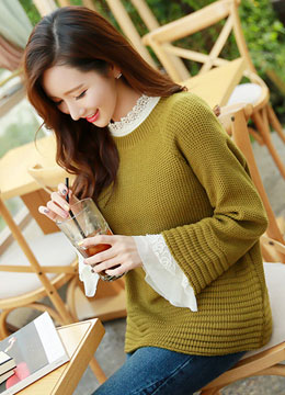 Honeycomb Weave Loose Fit Round Neck Knit Sweater, Styleonme