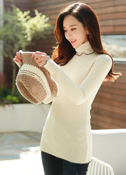 Turtleneck Ribbed Knit Tee, Styleonme