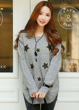 Star Embroidered Long Knit Sweater, Styleonme