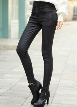 Three Button High-Waisted Glossy Skinny Jeans, Styleonme