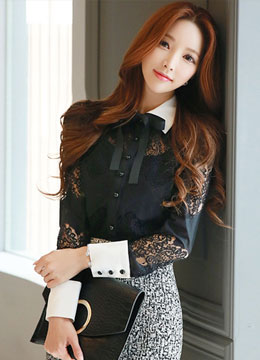 See-through Lace Ribbon Neck Tie Collared Blouse, Styleonme