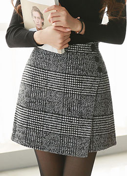 Check Print Side Button Wrap Skort, Styleonme