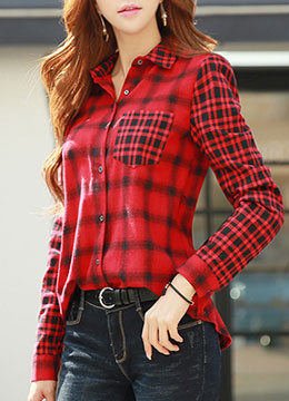 Two Combination Check Print Collared Shirt, Styleonme