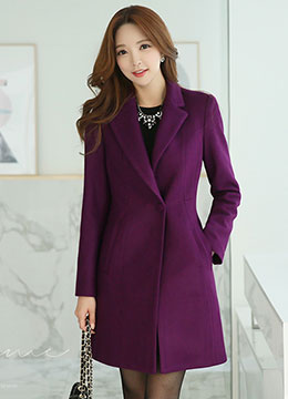 Singe Button Notched Lapel Collar Long Coat, Styleonme