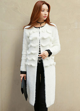 Ruffle Detail Open-front Fuzzy Long Cardigan, Styleonme